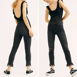 Free People Great Heights Frayed Skinny Jeans Black Size 27